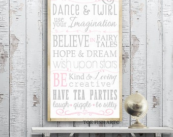 Princess Rules Wall Art - Typography Word Art on Wood Nursery or Playroom Sign