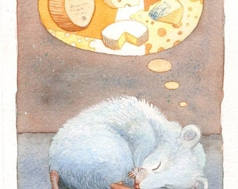 "Mouse Art Painting - Original Watercolor Painting of a White Mouse Dreaming of various varieties of cheese - 6""x10"""