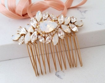 Bridal Hair Comb,Wedding Hair Accessory,White opal Hair Comb,Wedding headpiece,Crystal hair comb,Rhinestone head piece,Gatsby Headpiece