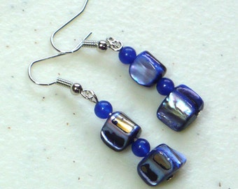 Blue Shell Dangle Earrings: Women's Drop Earrings, Natural Shell and Blue Beads, Nickle-Free Earwires, Handmade in the US, Ready to Ship