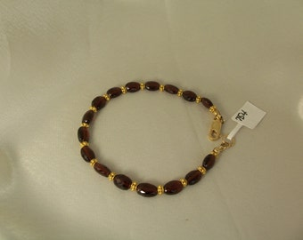 Garnet bracelet with vermeil ornaments and gold filled lobster clasp 7 5/8 inches gemstone handmade MLMR item 754