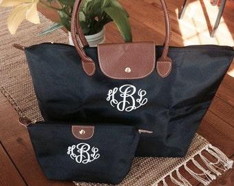 Monogrammed Tote Bag | Preppy Personalized Nylon Handbag | Birthday, Bridesmaids, Mother's Day, Graduation, Christmas, Sorority
