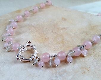 SALE Floral Toggle Necklace Sterling Silver Rose Quartz Green Amethyst Elegant Pink Mint Green Multi Gemstone Chain Handmade by Life Bijou