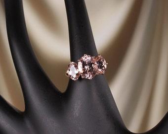 14k Rose Gold 5.3 CTW Natural Morganite three stone anniversary ring, set with 1 qty 11X9 MM Morganite & 2 qty 8X6 MM Morganite