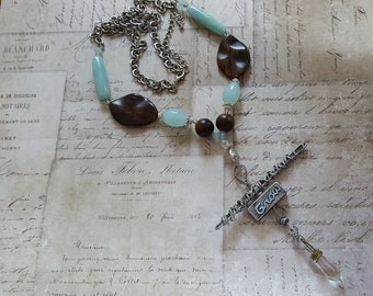 """Inspirational Aqua, Brown+Silver Bead Found Object Necklace, Industrial Chic """"Grow"""" Pewter Box+Bar+Butterfly+Wrapped Wires+Clear Prism Charm"""