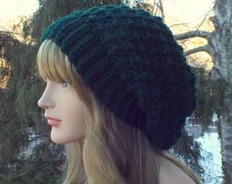 Hunter Green Crochet Hat, Womens Slouchy Beanie, Slouchy Hat, Oversized Slouch Beanie, Chunky Hat, Winter Hat, Slouch Hat