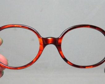 Vintage Eyeglasses. 60s Oval Red Colored Frames with 3D Holographic Designs