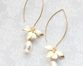 Gold Orchid Flower Earrings Long Floral Dangle Cream Pearl Earrings Bridemaids Gift For Her Gift For Wife Nickel Free Wedding Jewelry
