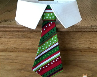 Christmas Dog Tie and Shirt Collar with Red and Green Stripes & Dots OR Individual Removable Dog Neck Tie or Bow Tie