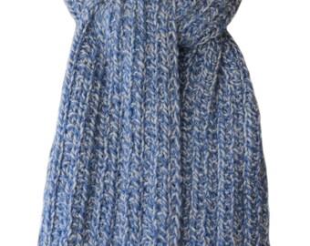 Hand Knit Scarf - Denim Blue Silver Tweed Alpaca Trail Ridge Rib