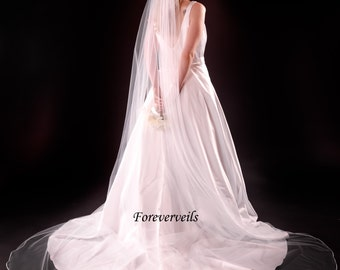 Cathedral bridal veil, 1 layer cathedral wedding veil, white, ivory, diamond white, satin edge