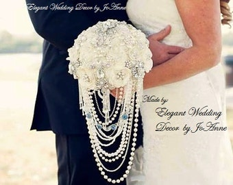 BROOCH BOUQUET Custom Ivory Brooch Bouquet Cascading Pearls Brooch Bouquet Ivory and Silver Wedding Bouquet Jeweled Bouquet DEPOSIT