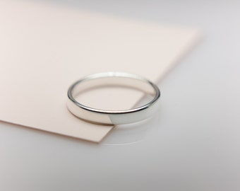 Thin Flat Ring Band with Rounded Sides, Sterling Silver, Wedding Ring Band, Plain Silver Band, Womans Wedding Band, Handmade to Order.