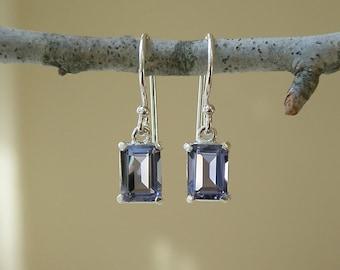 Emerald Cut Iolite Earrings - Dainty Earrings - Rectangle Gemstone – Octagon Cut - Faceted - Blue Gemstone - Prong Set – Sterling Silver