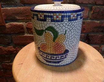 Clay Art Mosaic Pear canister, Mosaic Cookie Jar, 1995 Clay art, Kitchen décor, Mosaic kitchen, farmhouse kitchen, kitchen canister