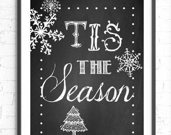 Christmas Wall Art, Chalkboard Art, Christmas Decorations, Tis The Season, Holiday Art Print, Seasonal Wall Art, Christmas Print, Xmas Decor