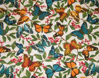 BTY Modern Curiosity COLORFUL BUTTERFLIES on Natural Print 100% Cotton Quilt Craft Timeless Treasures Fabric by the Yard