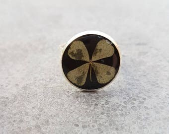 4 leaf clover ring, handmade resin flower jewelry adjustable ring, clover with black terrarium jewelry ring
