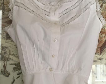 Antique 1900 Victorian Lace Top vest Camisole Small Handsewn Hand made pin tucks For clothing  lingerie collection women re enactment photos