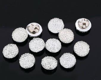 CraftbuddyUS AB1 11mm x 20pcs Clear Sew on Diamante Round Buttons Acrylic Crystal Rhinestone