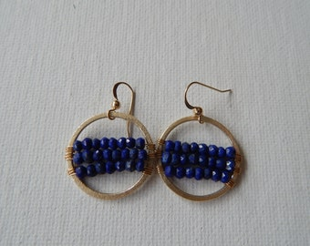Brushed gold hoop earrings with wire wrapped lapis, dangle earrings, boho jewelry, beach chic, trendy jewelry, round earrings, blue and gold