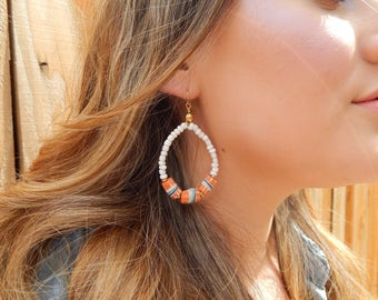 Teardrop shape earrings with white seed beads, african trade beads, and brass findings, beach boho jewelry, festival chic jewelry, orange