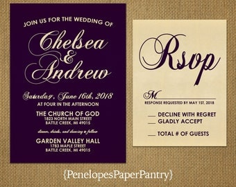 Elegant Purple Wedding Invitation,Purple,Gold,Purple and Gold,Shimmery,Formal,Sophisticated,Customize,Printed Invitations,Opt RSVP Card