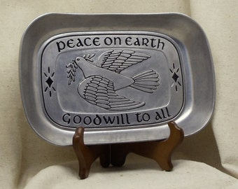 """Vintage Pewter Bread Tray,Bread Serving Tray,""""Peace on Earth Goodwill to All"""",Dove of Peace,Collectible, Home Decor,NEW LISTING!!!,  #VH3054"""