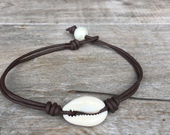 Leather Anklet - Cowrie Shell Anklet - Leather Jewelry
