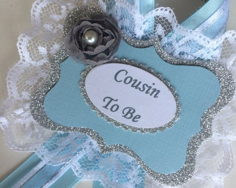 Grandma to be corsage/Aunt to be corsage/Boy baby shower corsage/Guest pin/Light blue and silver baby shower corsage