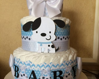 Puppy themed baby shower diaper cake/Blue and white diaper cake/Boy baby shower centerpiece/Gift/Boy diaper cake
