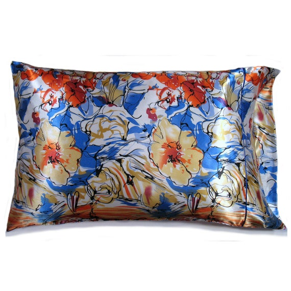 Blue Gold And Orange Flowers Pillow Case. Charmeuse Satin