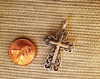 Intricate Sterling Silver Large Filigree Cross Charm Pendant,  925 Victorian Religious