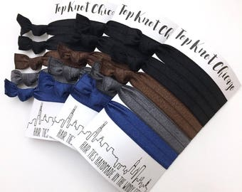Black Hair Ties - Hair Elastics - Hair Accessories - Elastic Hair Ties - Elastic Hair Bands - Yoga Hair Ties - Brown Hair Ties - Hair Ties