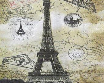 Set of 4 pcs 2-ply ''Paris Eiffel Tower'' paper napkins for Decoupage or collectibles 33x33cm, Decopatch napkins, Tissue napkins, Servietten