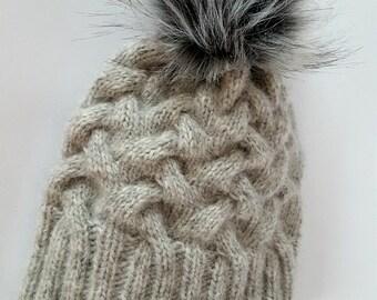 Alpaca WOOL beanie / Knit hat / pom pom beanie / winter beanie