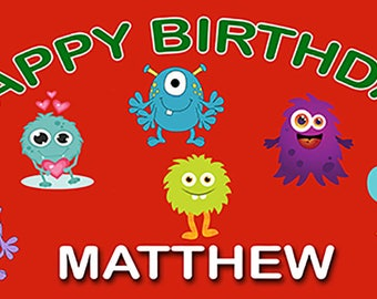 Birthday banner Personalized 4ft x 2 ft Fun Monsters