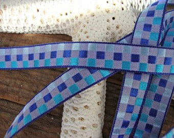 2 Yards - Light Blue Turquoise and Cobalt Check Ribbon