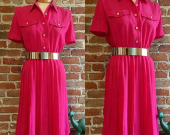 Vintage 1980's Bright Pink Pleated Shirt Dress