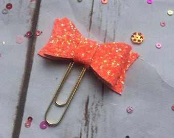 Mai Tai Glitter Bow Planner Paperclip, planner accessories, planner bow clip, chunky glitter bow paperclip