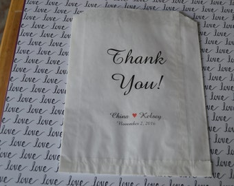 Thank You Wedding Bags/Thank You Favor Bag/Bags/Wedding Bags/Party Bags/Party Candy Bags/Buffet Candy Bags/Candy Stache Bag--50 bags