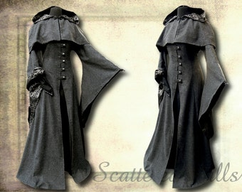 Coat with detachable hood, made for LARP, middle ages