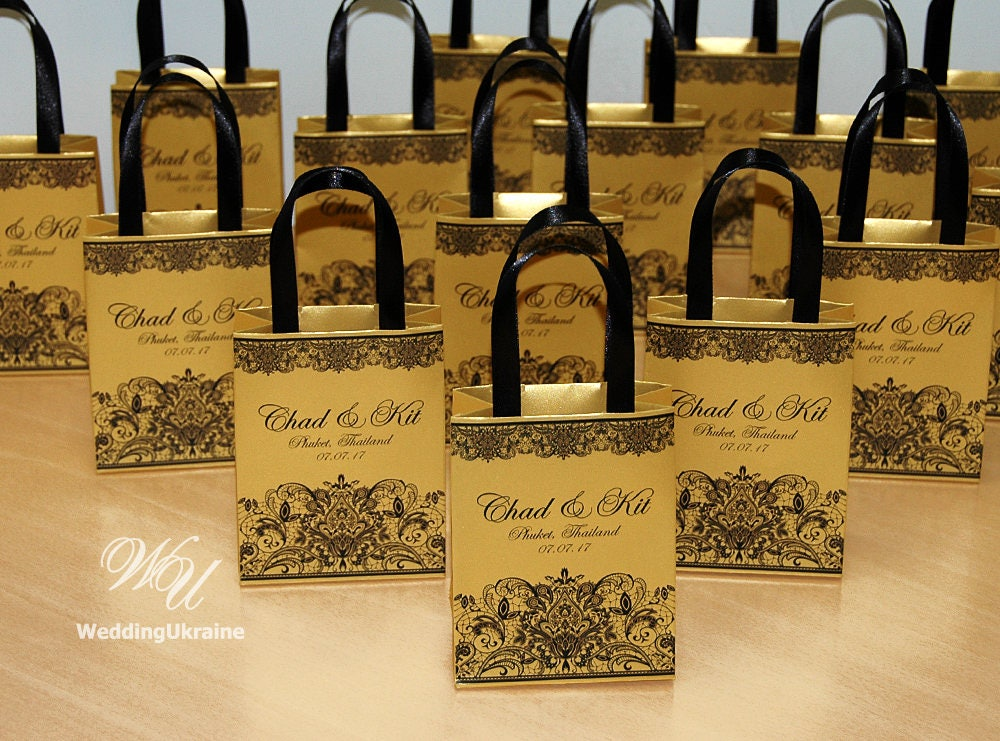 Gift Bag: Gold Wedding Gift Bags For Small Souvenirs Personalized
