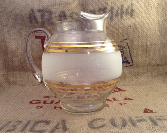 Beautiful Frosted Tea Pitcher with Gold Accent