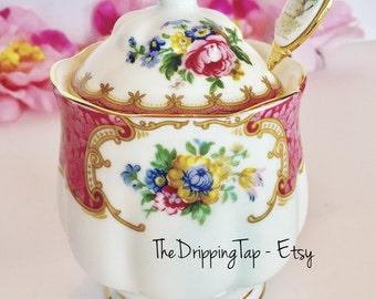 Royal Albert Lady Carlyle Jam Marmalade Honey Mustard Sugar Pot Lidded Bowl FIRST QUALITY  Tableware Dinnerware Fancy Pink Roses