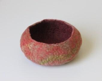 Orange and green felt bowl