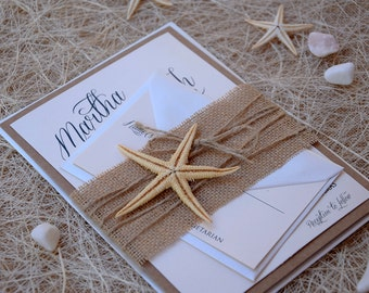 Rustic Invitations, Beach Wedding Invitation, Starfish Invitation, Unique Wedding Invitation, Burlap Wedding Invitation - SAMPLE