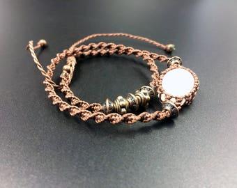 Pink quartz bracelet macrame