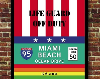 Miami Beach Florida USA Decoration travel Poster
