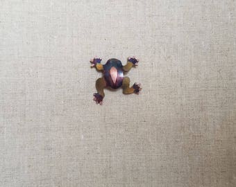 Flame painted copper Froggie, pin